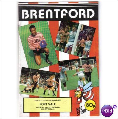 Brentford v Port Vale 1988/89 Football Programme Division 3