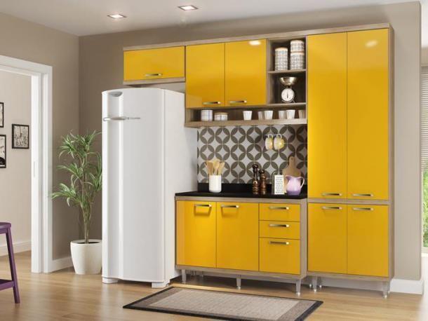 Cozinha Compacta Multimoveis Sicilia Com Balcao 9 Portas 3 Gavetas
