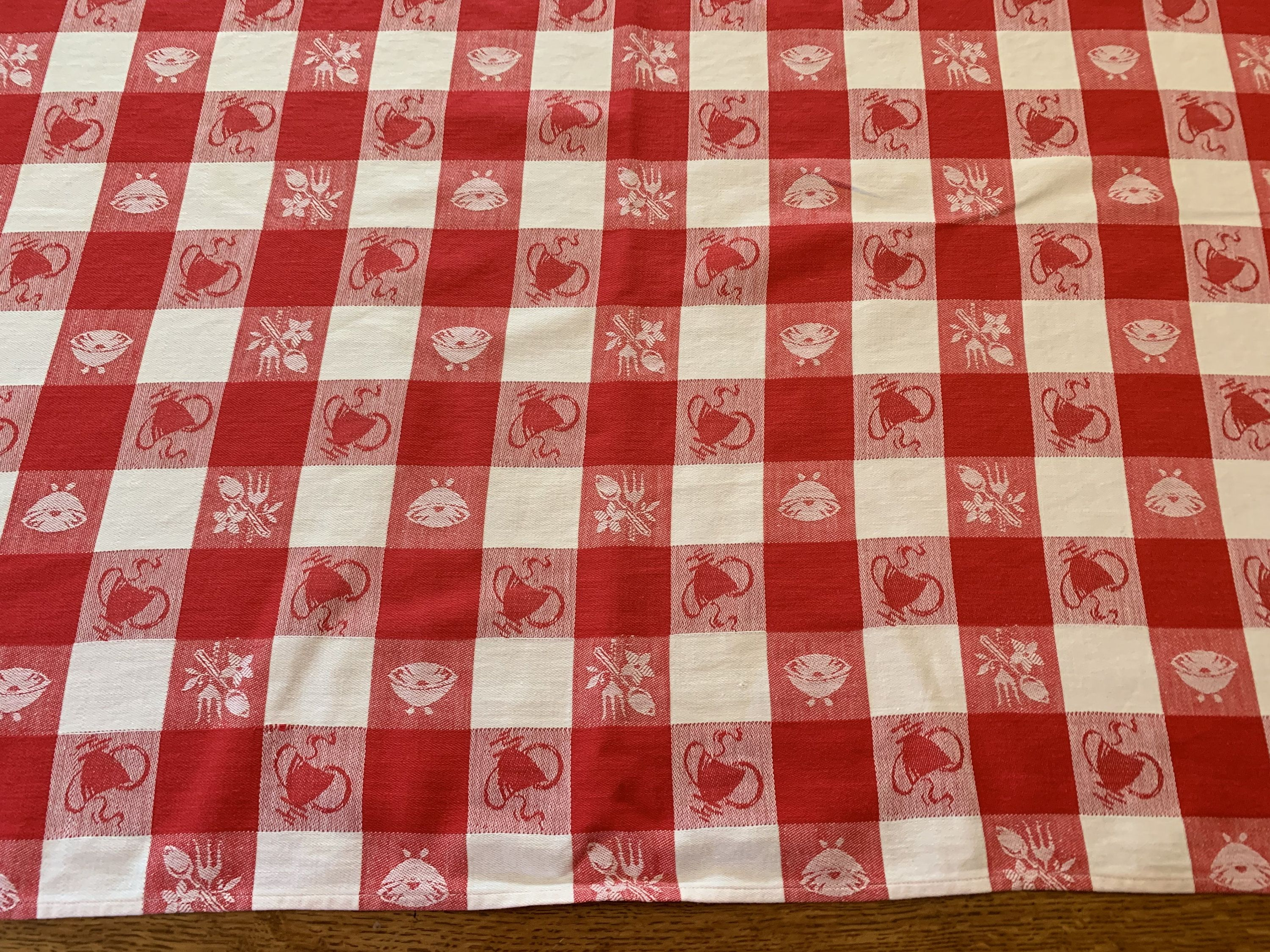 Red White Picnic Tablecloth Vintage Woven Cotton Gingham