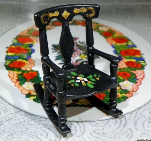 MINT-Renwal-PENN-DUTCH-ROCKING-CHAIR-Vintage-Tin-Miniature-Dollhouse-Furniture