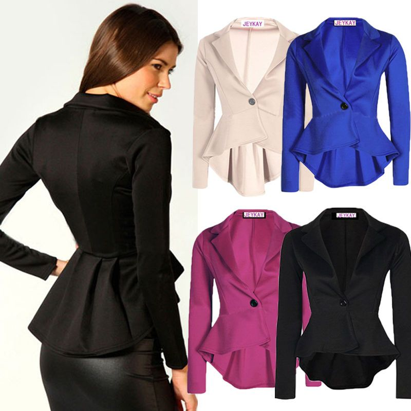 Style: Fashion One Button Irregular Blazer Suit. Quality is the first with best service. Color:Black,Apricot,Blue,Rose. 1 x Blazer Jacket. Size Bust Shoulder Waist Sleeve Front Length Back Length. If you do not receive your item on time. | eBay!