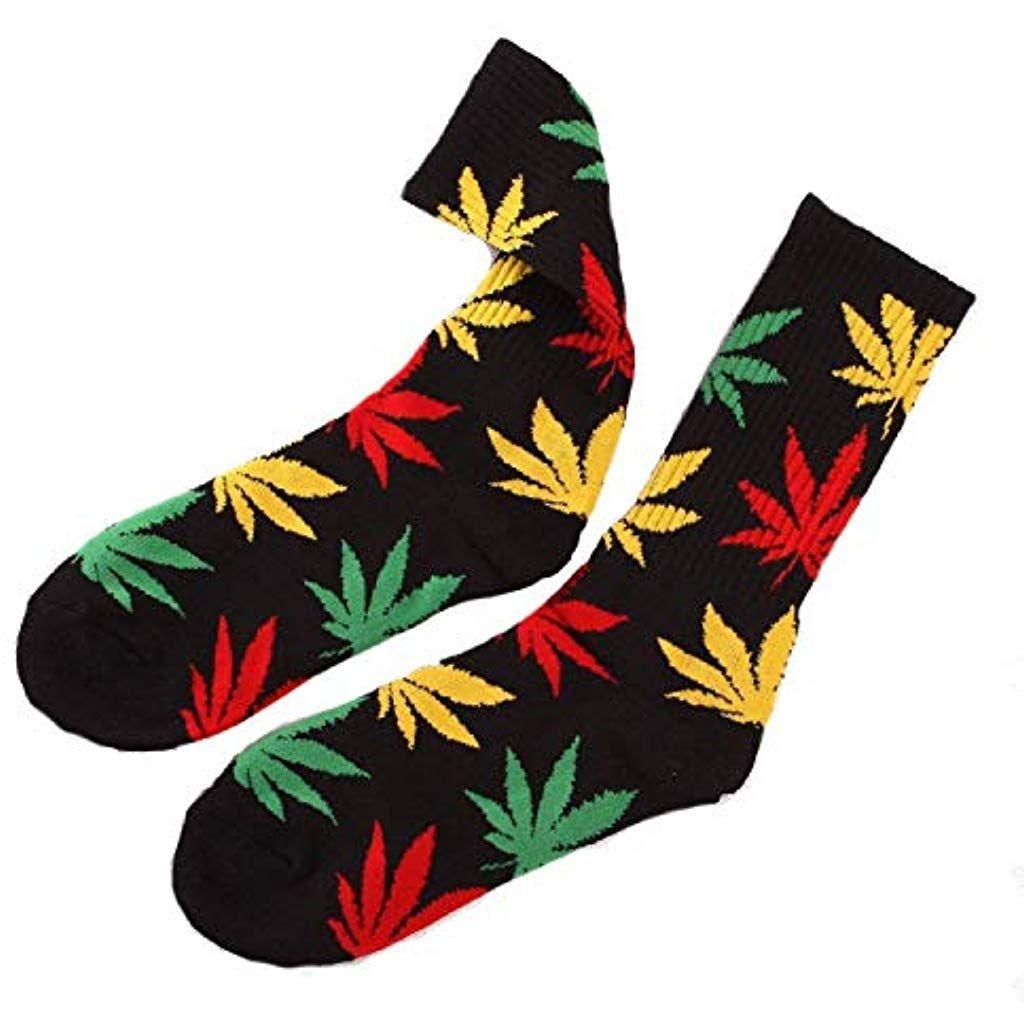85effc84140 Zeagro Paire de Chaussettes de Sport en Coton coloré Motif Feuilles de  Mauvaises Herbes  chaussettes