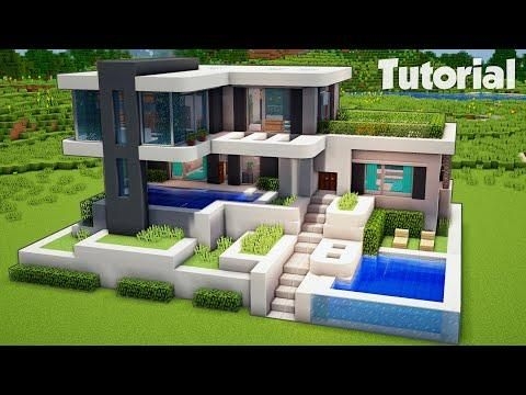 Minecraft How To Build A Modern House Tutorial Easy