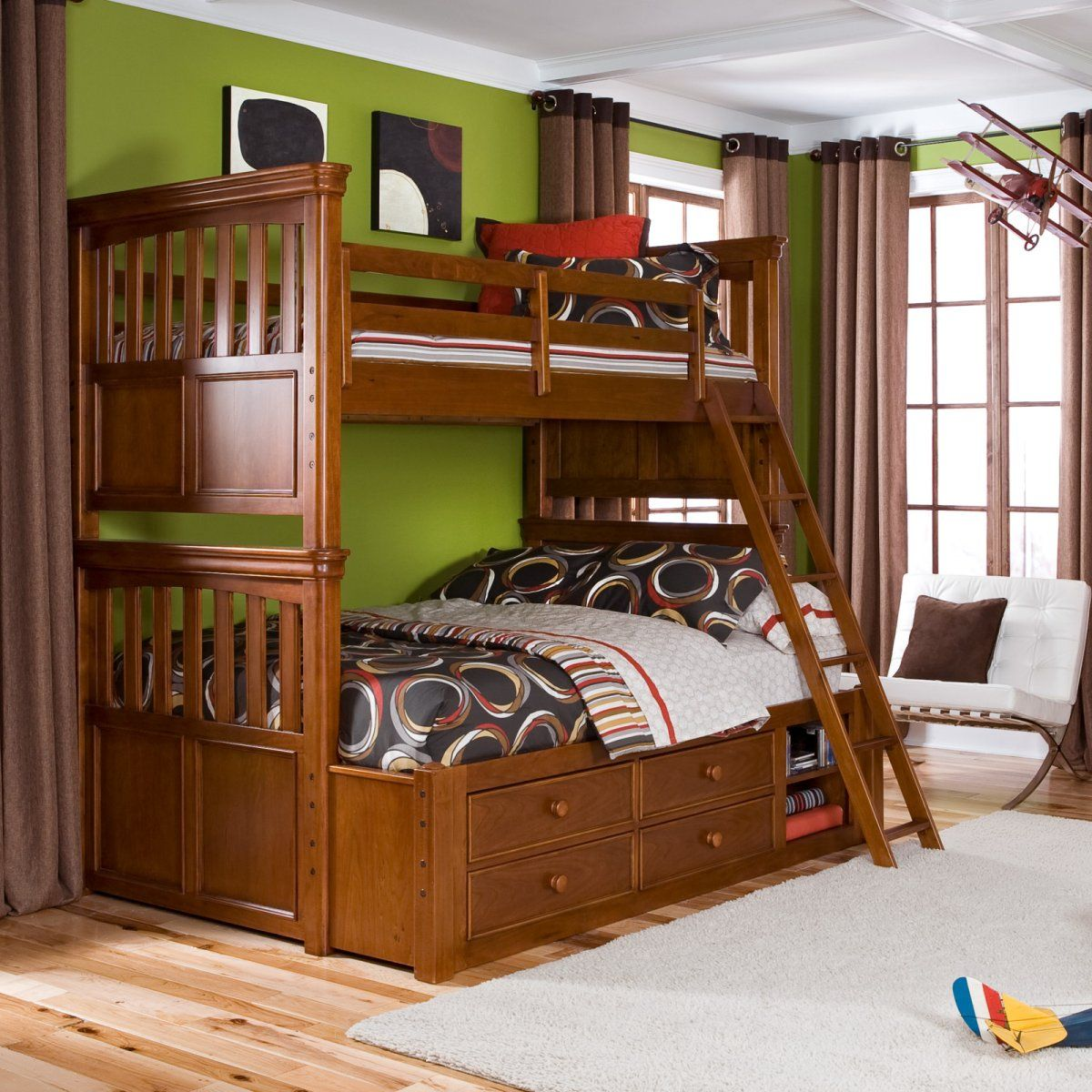 Spacious Bedroom using Wooden Wooden Bunk Beds with Lower Storages and Oak Ladder