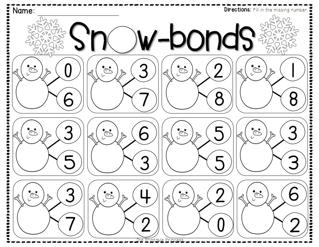 Worksheets Number Bond Worksheets winter activities and centers for kindergarten number bonds bond practice with snow bonds