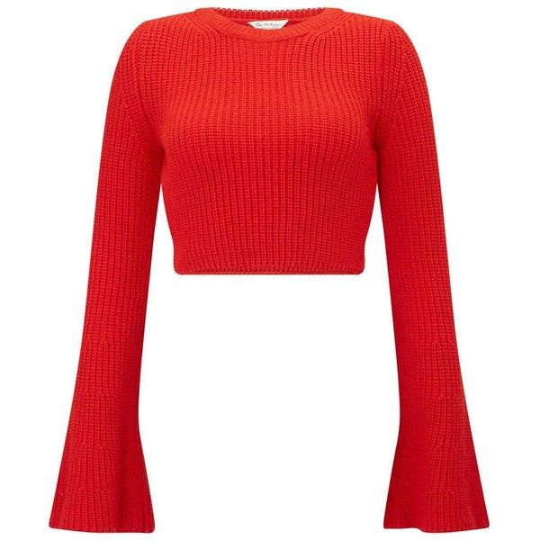 d03fb8680df14d Miss Selfridge Red Flute Sleeve Knitted Jumper (195 ILS) ❤ liked on Polyvore  featuring tops