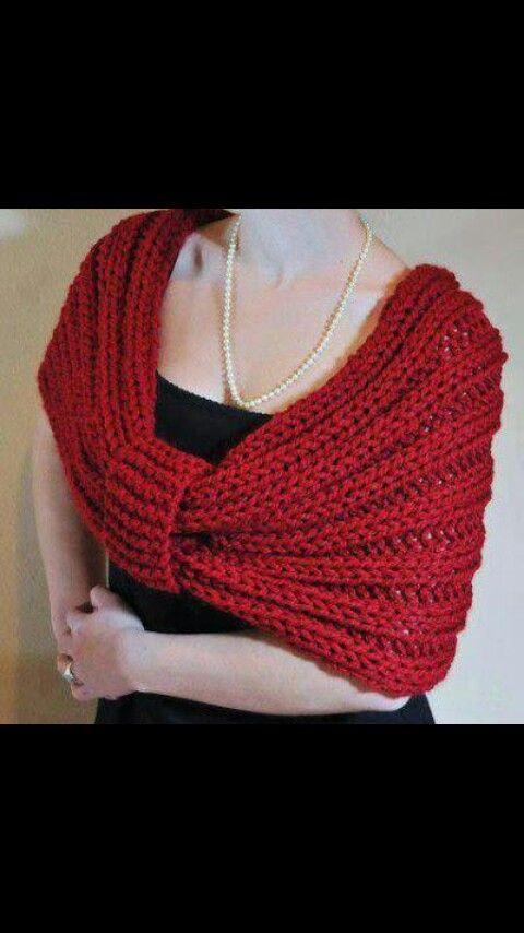 Es como un tipo de lazo hecho con punto (lana gorda ) | Tejidos ...