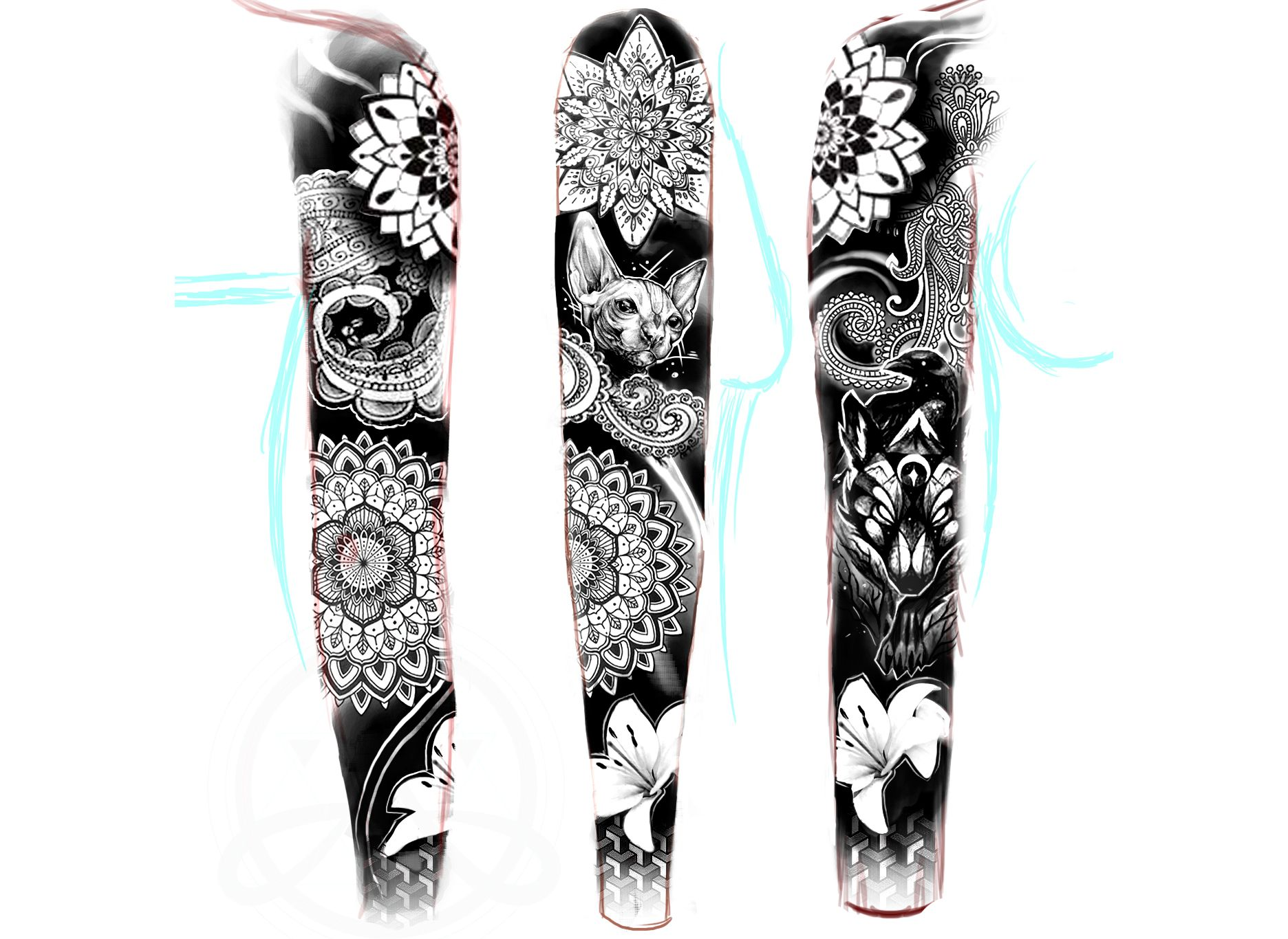 desing , sleve full piece arm tattoo / blackwork ink