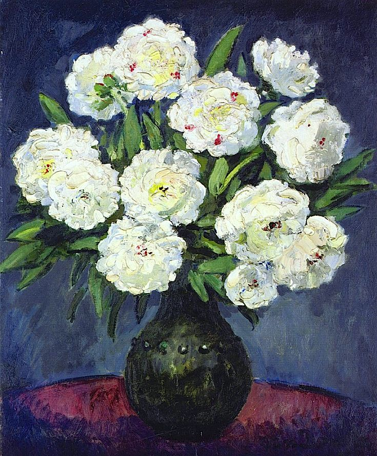Bouquet of Peonies in a Green Vase / Kees Van Dongen