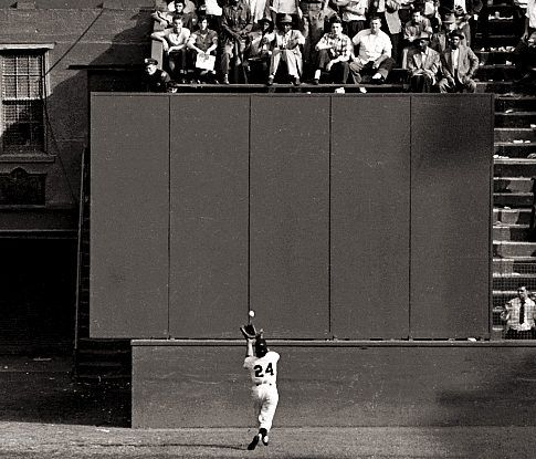 Image result for willie mays makes an amazing catch in 1954 world series