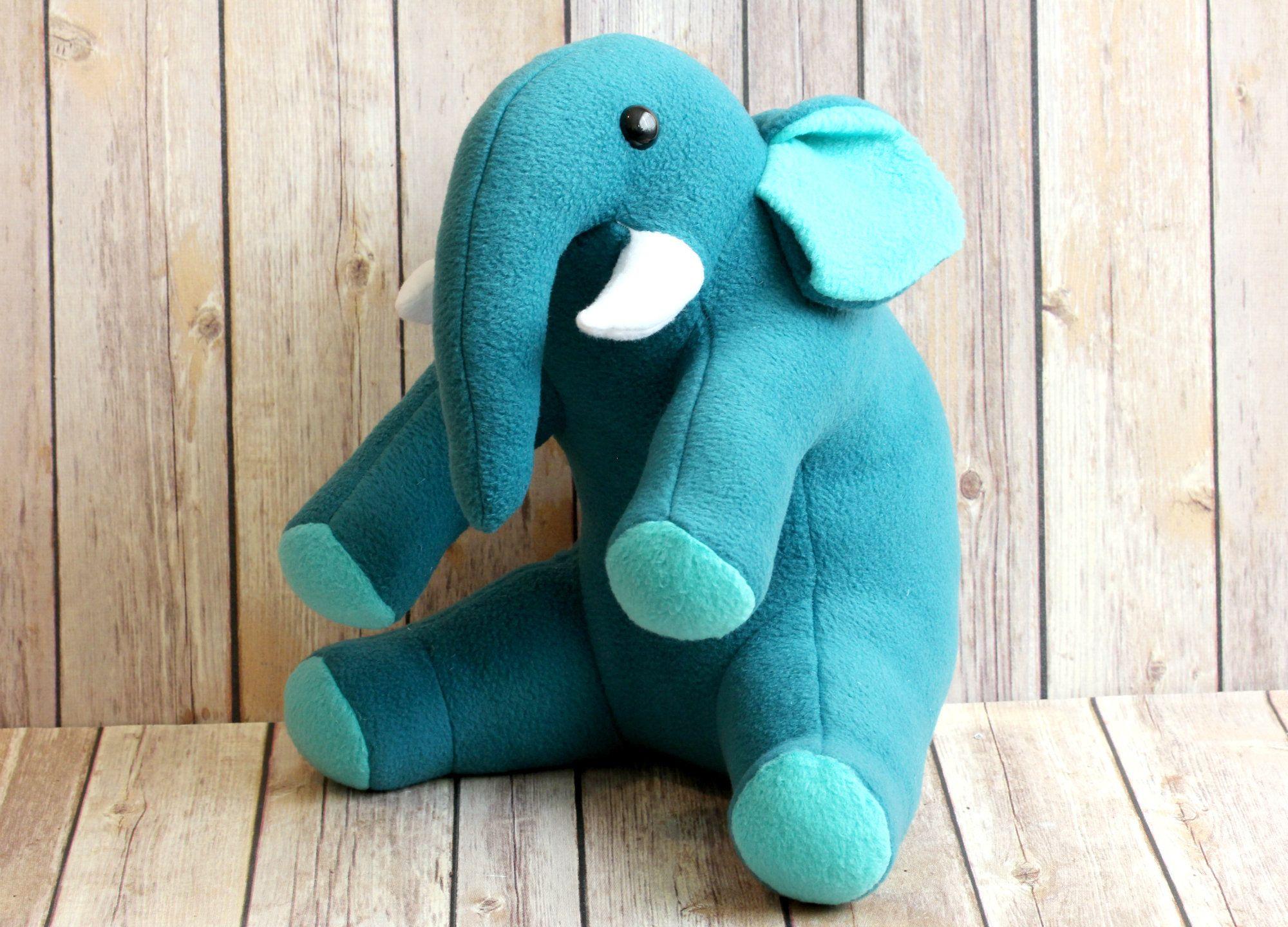 Turquoise Blue Elephant Stuffed Animal Plush Toy Handmade In The Usa Baby Shower Gift Zoo Animal Elephant Stuffed Animal Animal Plush Toys Animal Kids Room