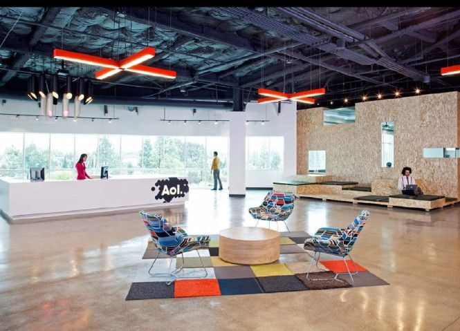 AOLs Funky New Office Building  Receptions Chairs and Square rugs