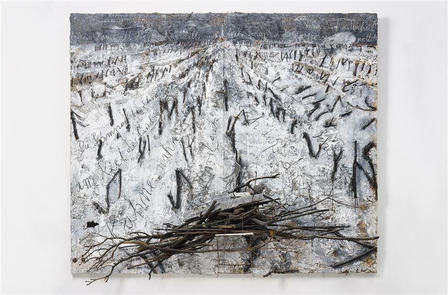 ANSELM KIEFER  Dein Haus ritt die finstere Welle,2006  oil, emulsion, acrylic, charcoal, lead boat, branches, chair and plaster on canvas  291 x 331 x 81 cm (114 1/2 x 130 3/8 x 32 in)