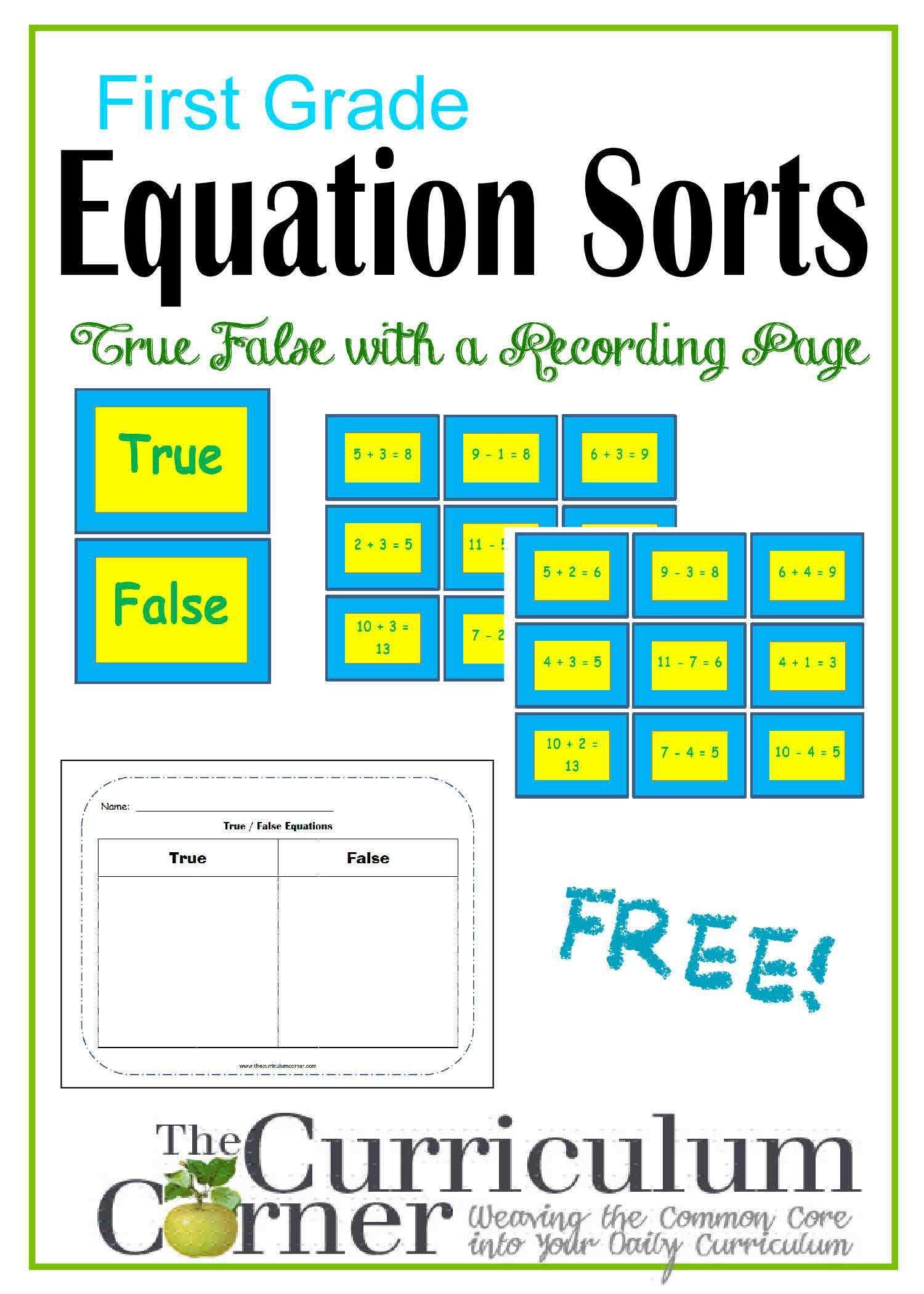 First Grade True/False Equation Sorts | Algebra | Pinterest ...