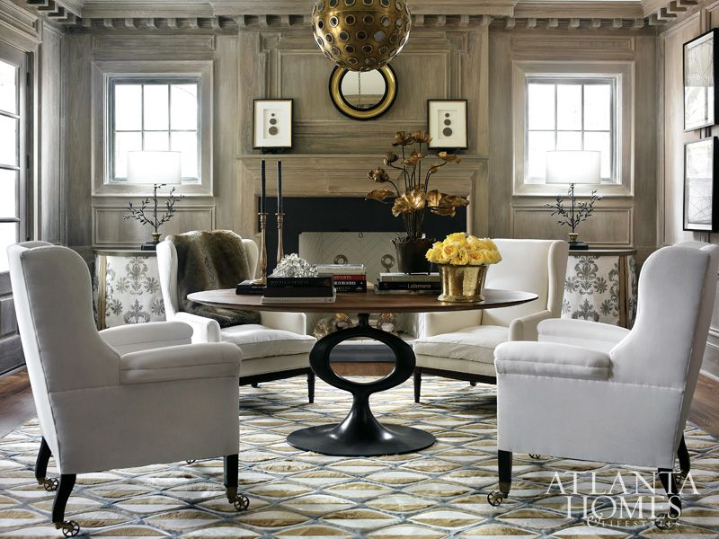 Living Room From An Atlanta Show House By Beth Webb Interiors Very Funky Chandelier While I Admire The Paneling And Mantel Surround