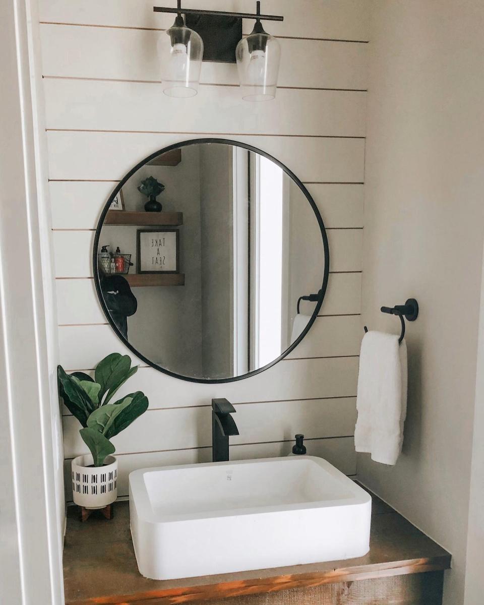 32 Round Decorative Wall Mirror Project 62 Half Bath Remodel Small Half Bathroom Round Mirror Bathroom [ 1200 x 960 Pixel ]