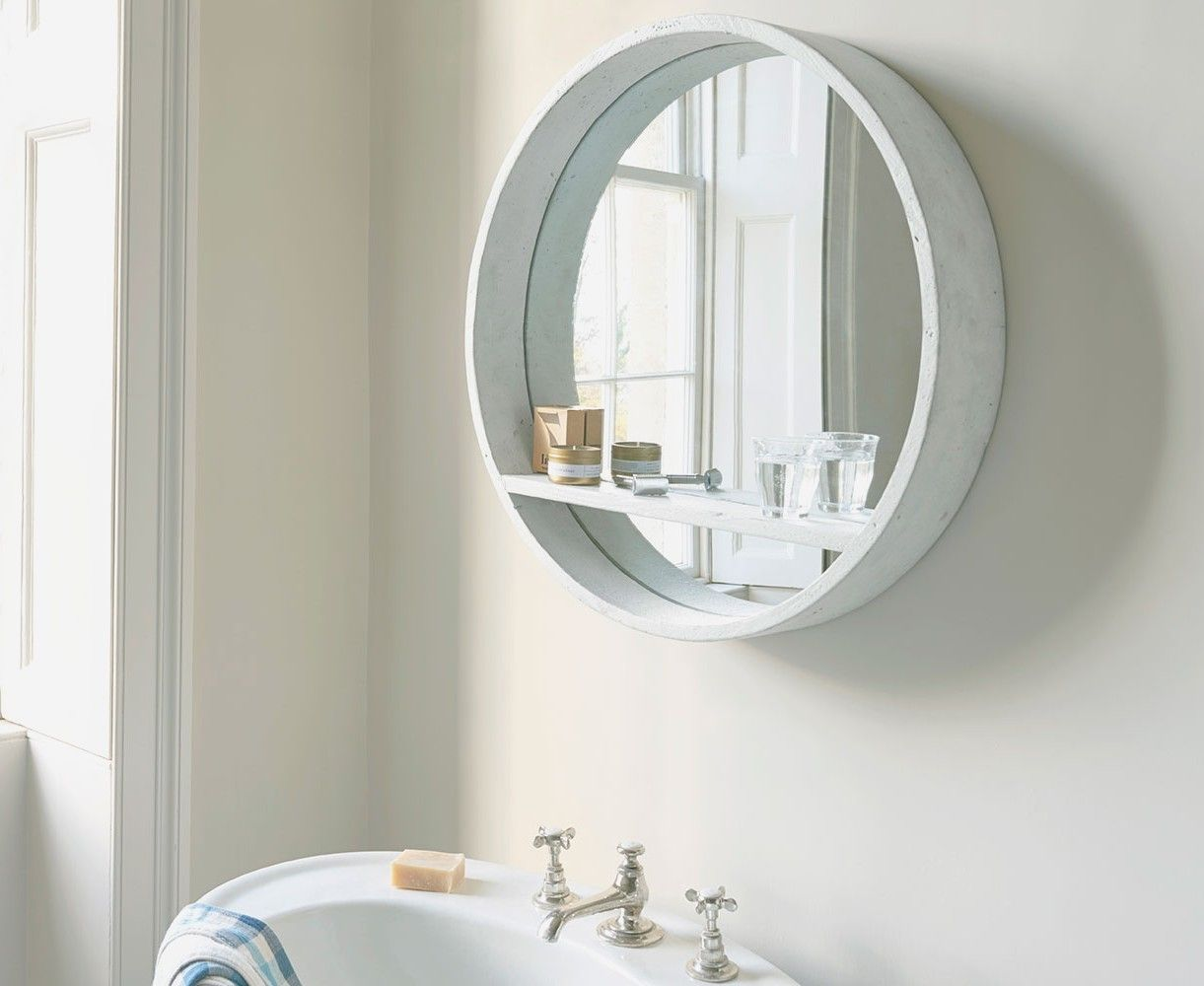 Black And White Encaustic Look Tiles Dulux Domino Vanity Leather And Brass Handles Timber Round Mirror Black In 2020 Round Mirror Bathroom Bathroom Mirror Bathroom
