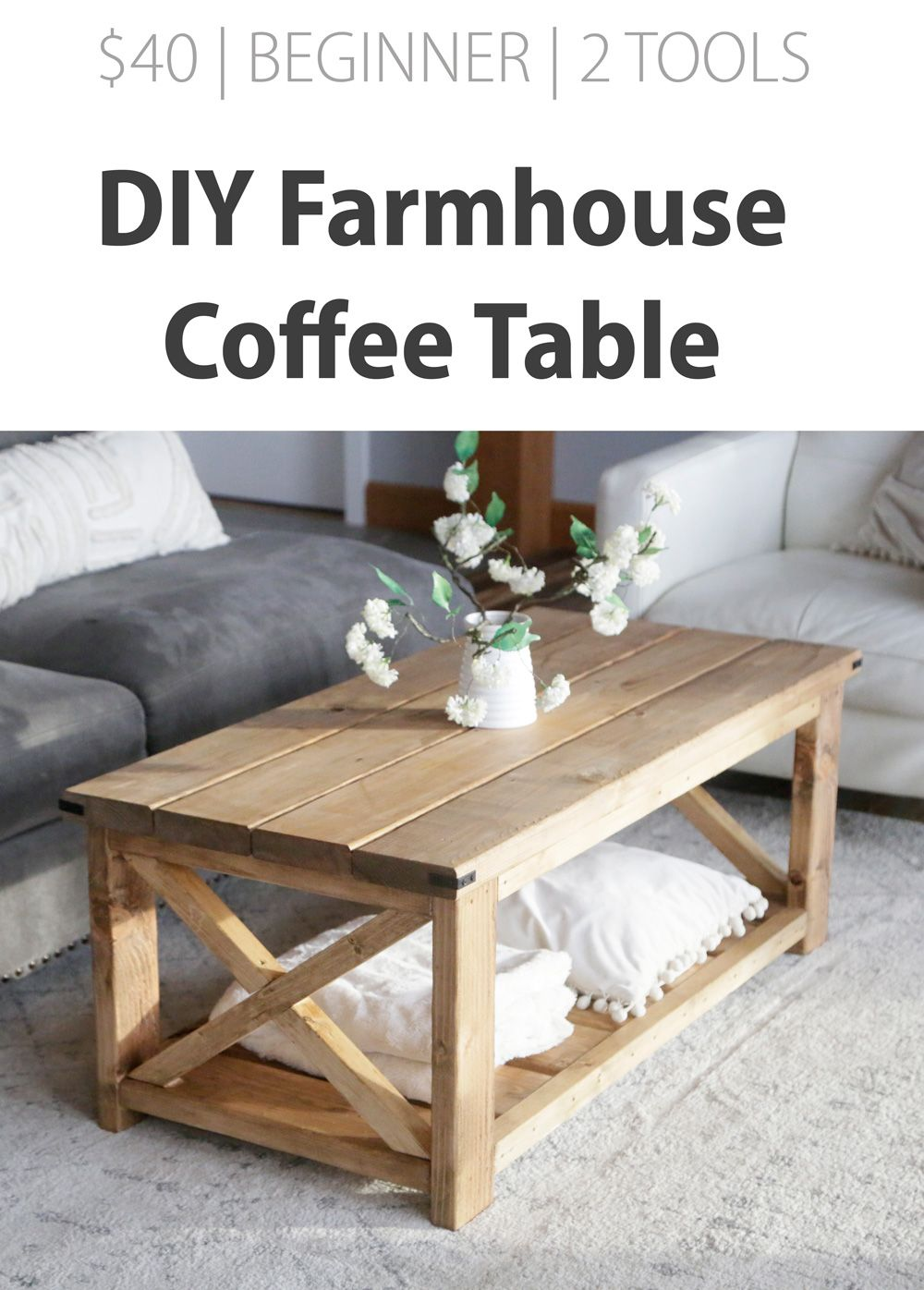Farmhouse Coffee Table Beginner Under 40 Diy Farmhouse Coffee Table Coffee Table Farmhouse Diy Furniture Projects