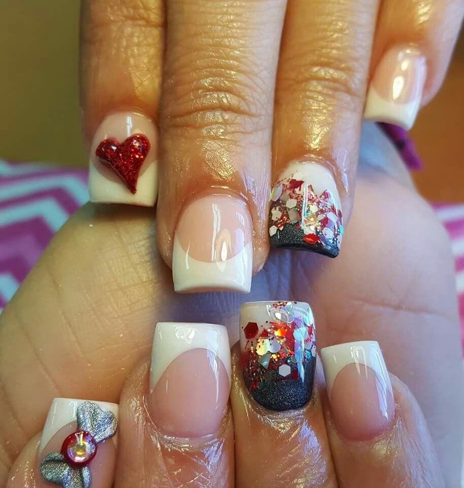 Dos tono,brillo encapsulado,lazo,corazon | uñas de san valentin ...