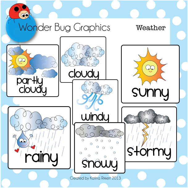 Weather cards and clipart set Weather cards