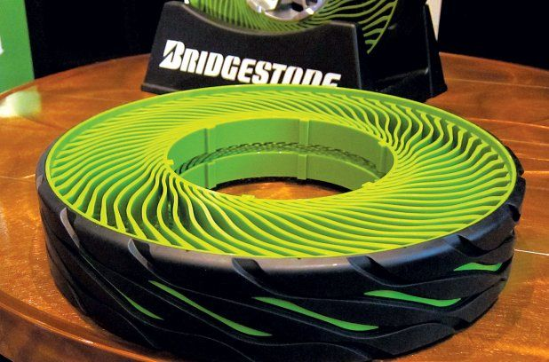Bridgestone is perfecting the science of airless tires that instead feature spokes and a rubber tread.