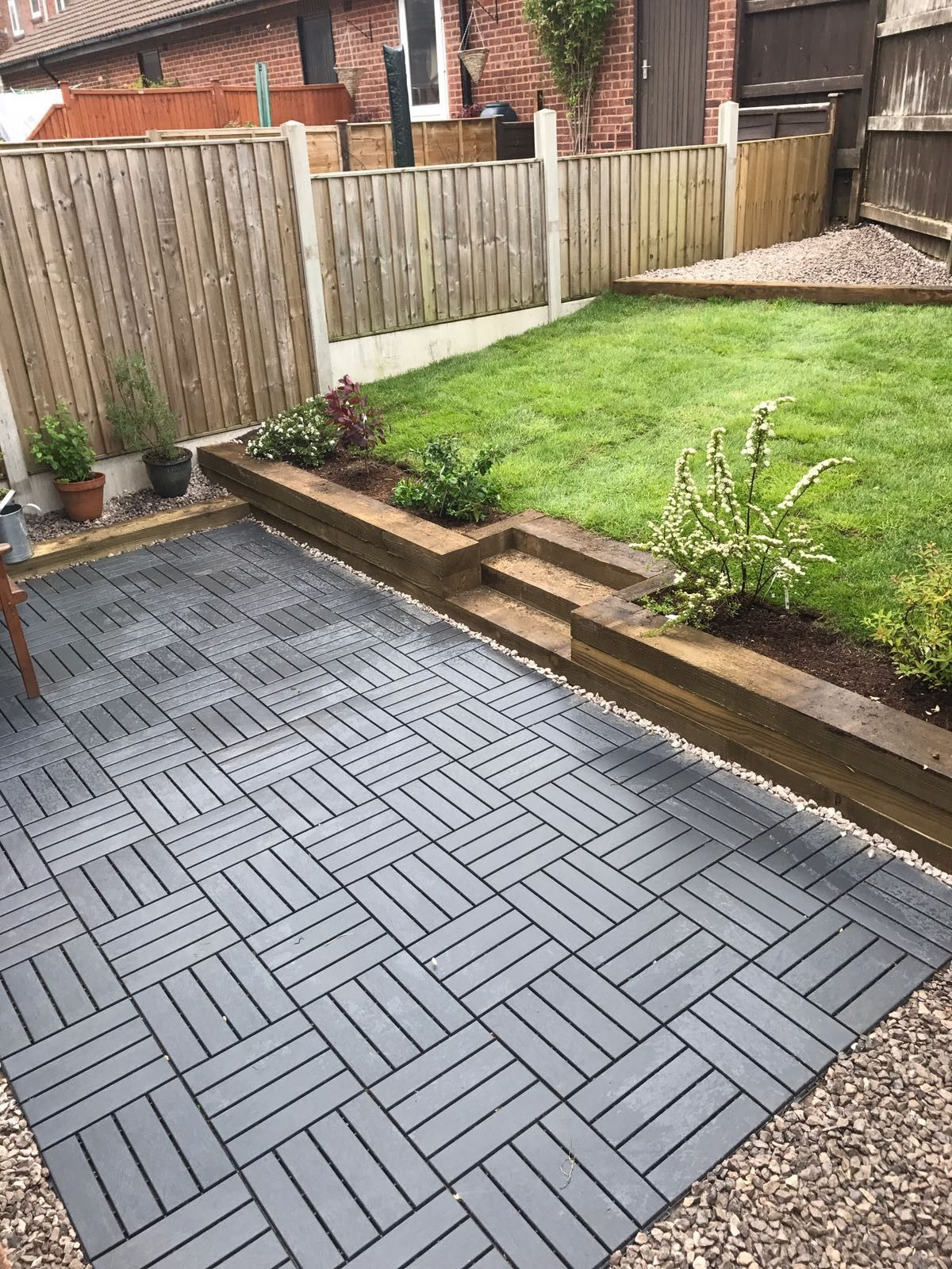 Ikea runnen decking tiles used to create a new garden for Garden decking and grass