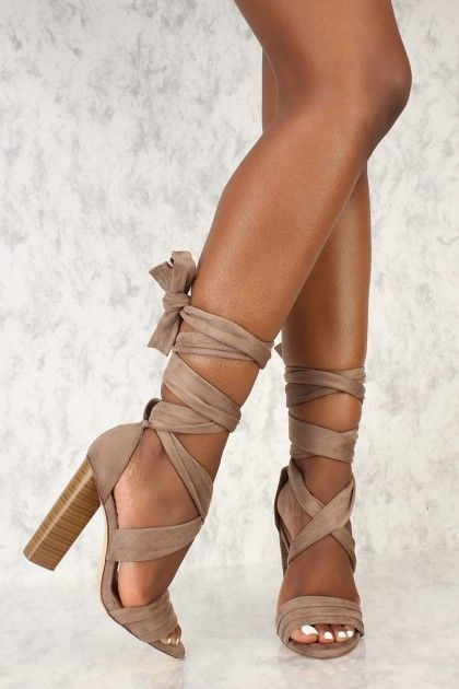 4632b1c0670 Sexy Taupe Wrap Around Open Toe Chunky High Heels Faux Suede