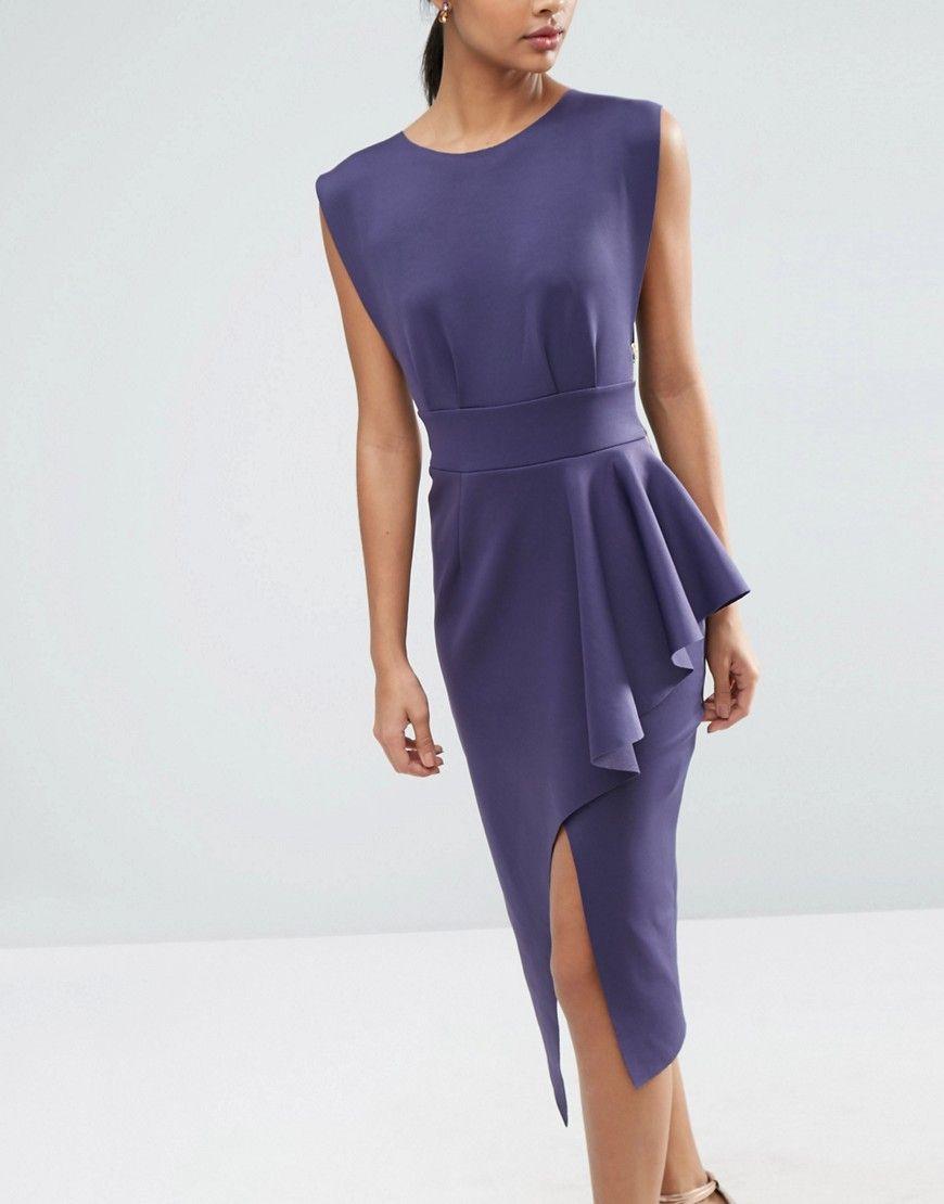 Image 3 of ASOS Open Side Zip Front Fold Peplum Midi Dress | shop ...