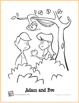 Adam And Eve Garden Of Eden Free Printable Coloring Page With