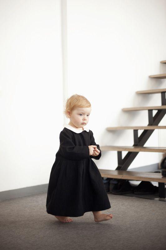 0574f9a569fe Girls Black Classic Dress : LinenKids linen store offers girls linen dresses,  boys linen suits and linen accessories
