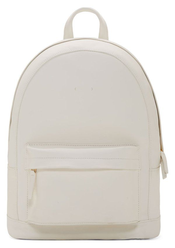 White Structured Leather Backpack by PB 0110. Small structured backpack in  smooth adceede6cfe39