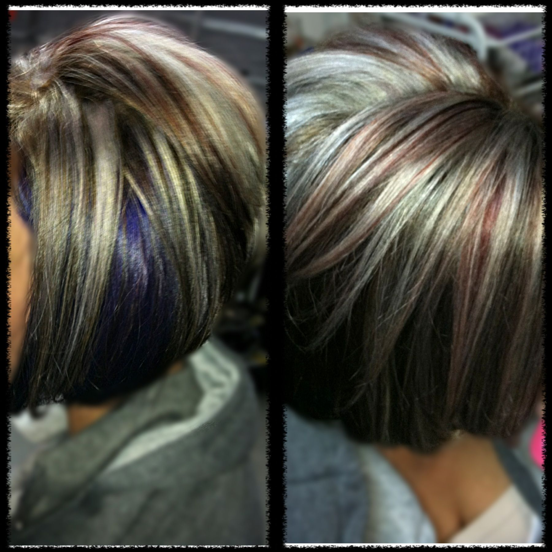 Platinum blonde and red highlights dark brown base purple peek aboo