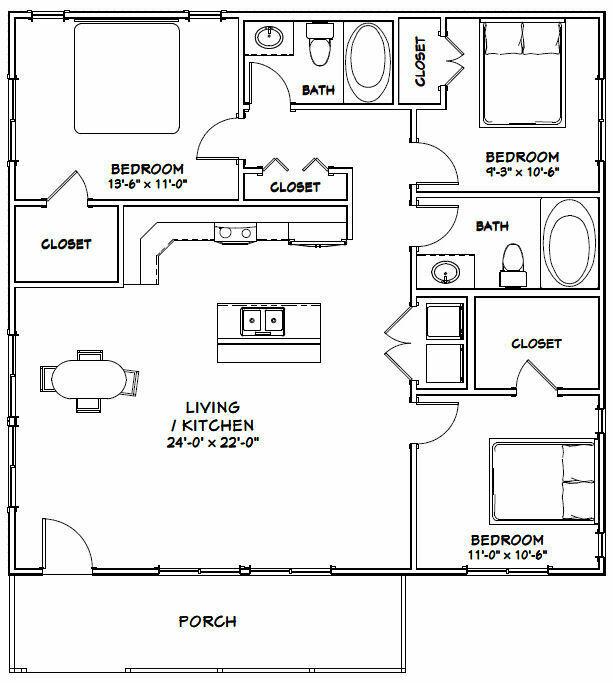 36x34 House 3 Bedroom 2 Bath 1 224 Sq Ft Pdf Floor Plan Model 1a Small House Floor Plans Two Bedroom House Small Floor Plans