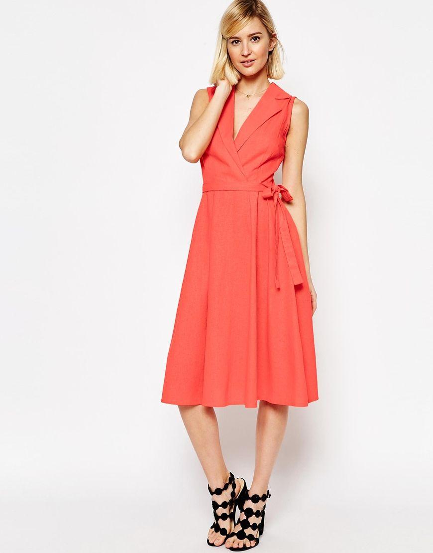 ASOS+Sleeveless+Linen+Midi+Shirt+Dress+With+Belt