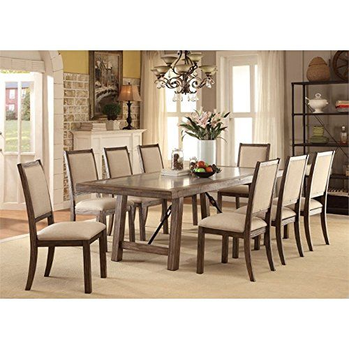 All American Furniture Bakersfield: Furniture Of America Lippin 9 Piece Dining Set In