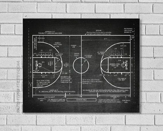 Basketball Court Print Basketball Court Schematic by QuantumPrints - fresh baseball training blueprint