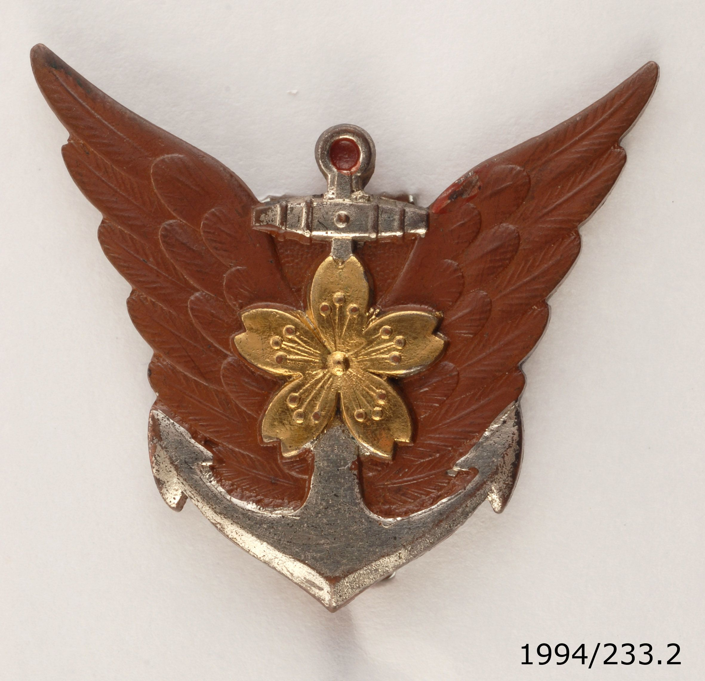 Japanese naval pilot's badge, circa WWII. From the