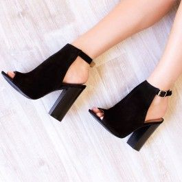 Women's Suede Lelia Black Chunky Heels Slingback Summer Boots