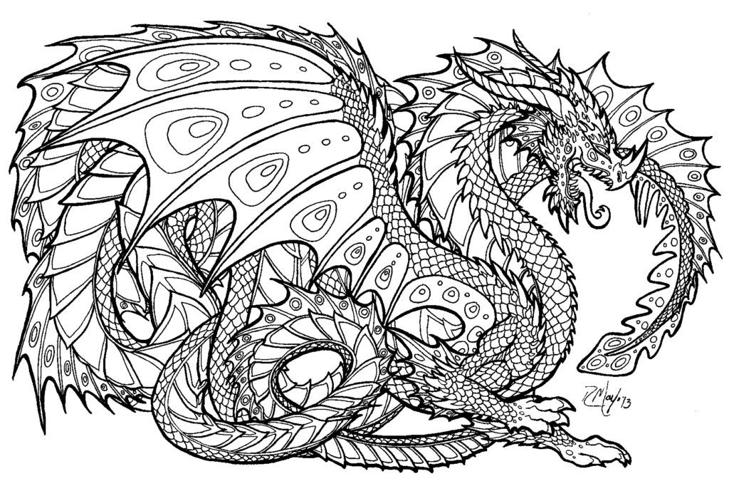Hard Printable Color By Number For Adults Coloring Pages Dragon