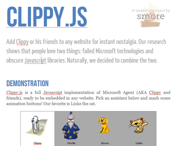 Clippy js: Microsoft Agent (Clippy & Friends) in JavaScript