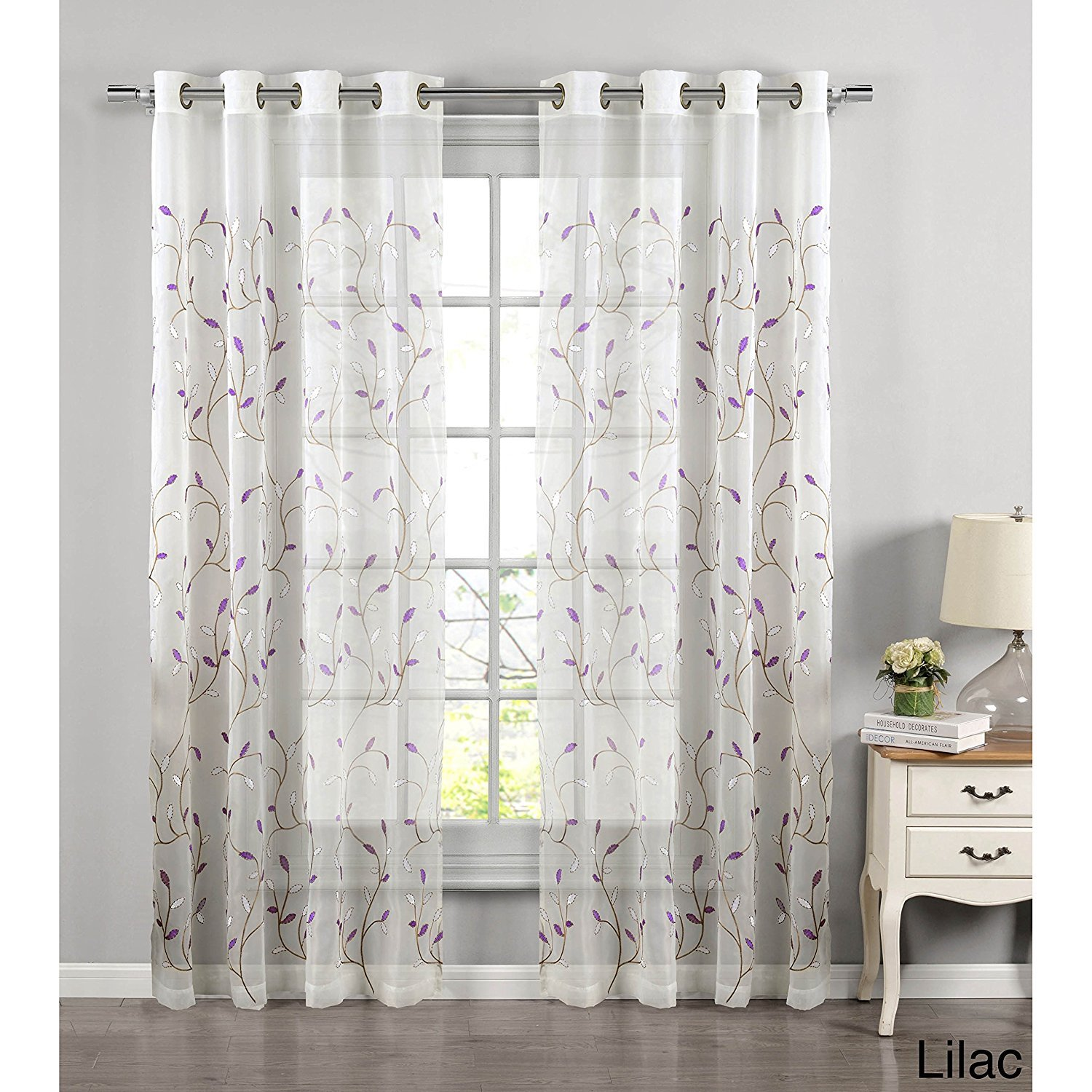 Girls Lilac Embroidered Wavy Leaves Sheer Window Curtain 84 Inch Single Panel Light Purple Color Gauzy Leaf Swirl Pattern Nature Treatments