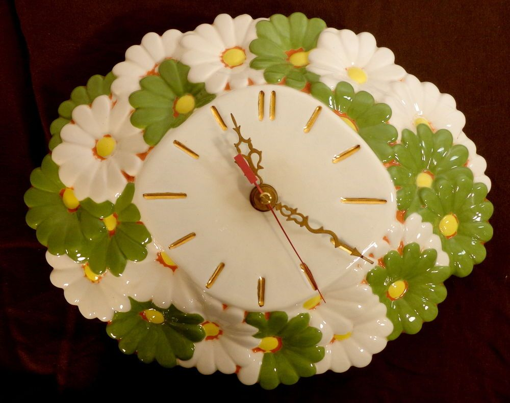 Kienzle Wall Clock Vintage 70\'s Daisy Hippie Flower Power Retro ...