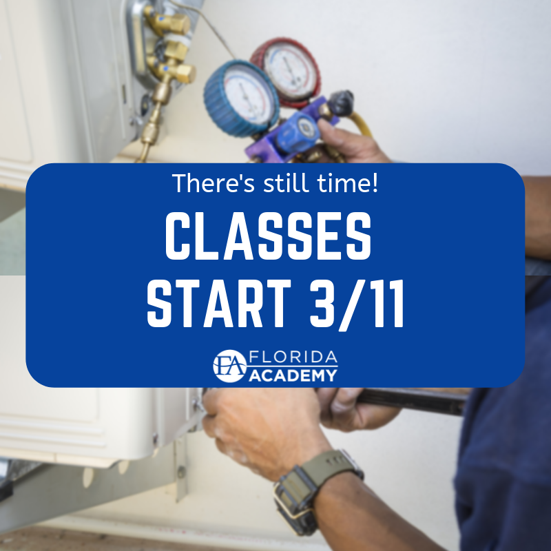 There S Still Time To Register Classes In Hvac Start March 11th Floridaacademy Hvac Skilledtrades Hvacr Backt Hvac Technician Hvac Informative