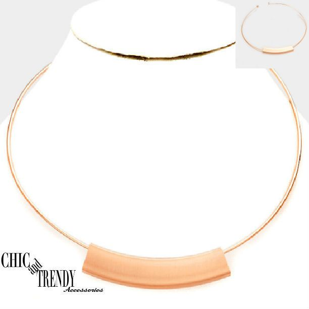 ROSE GOLD PLATED METAL BAR CHOKER FASHION NECKLACE CHIC TRENDY