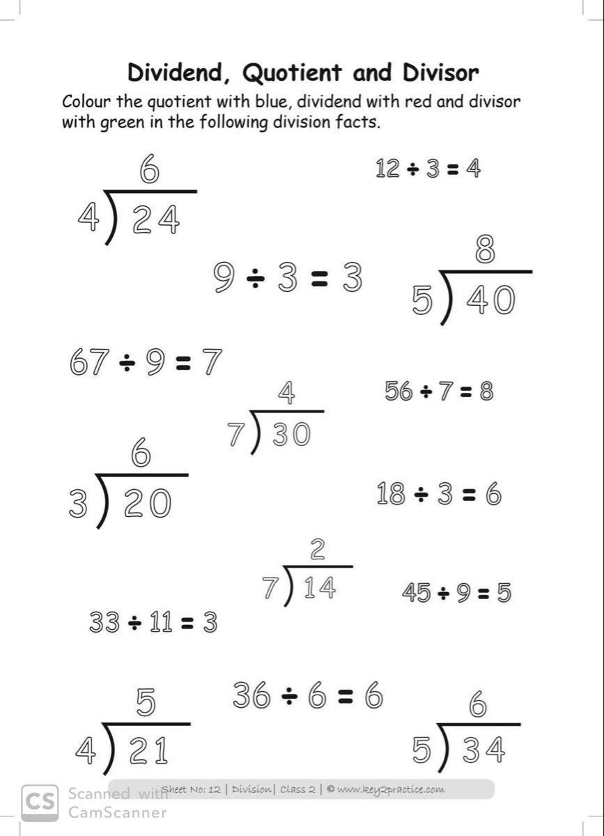 Maths worksheets on division for grade 2 key2practice