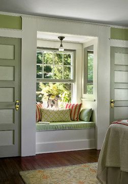 Clever Owner Created Window Seat Between Two Closets Note The Mirrors On Sides Of The Alcove To Give Illusion Of Wi Traditional Bedroom Window Seat Home