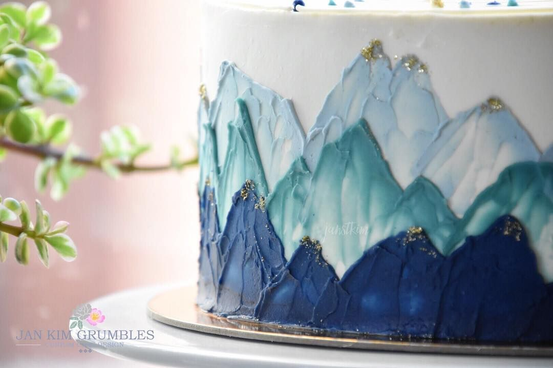 Mountain Buttercream Cake With Images Watercolor Cake