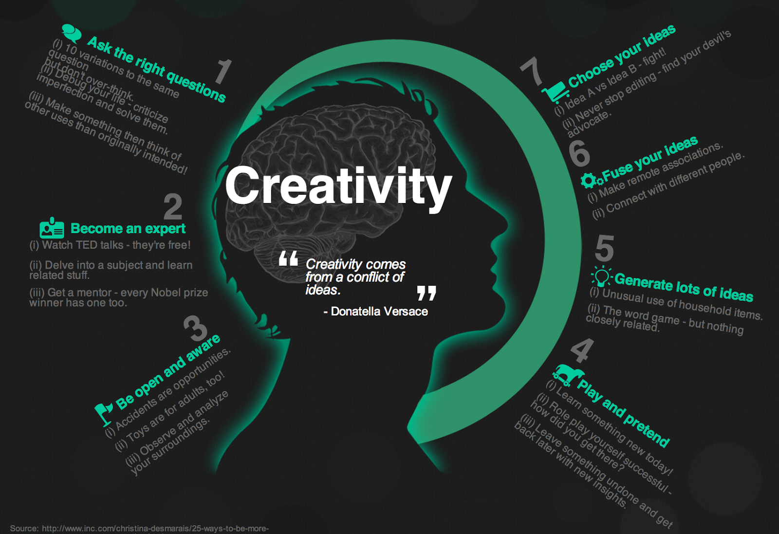 A Good Visual Featuring 7 Ways To Be More Creative