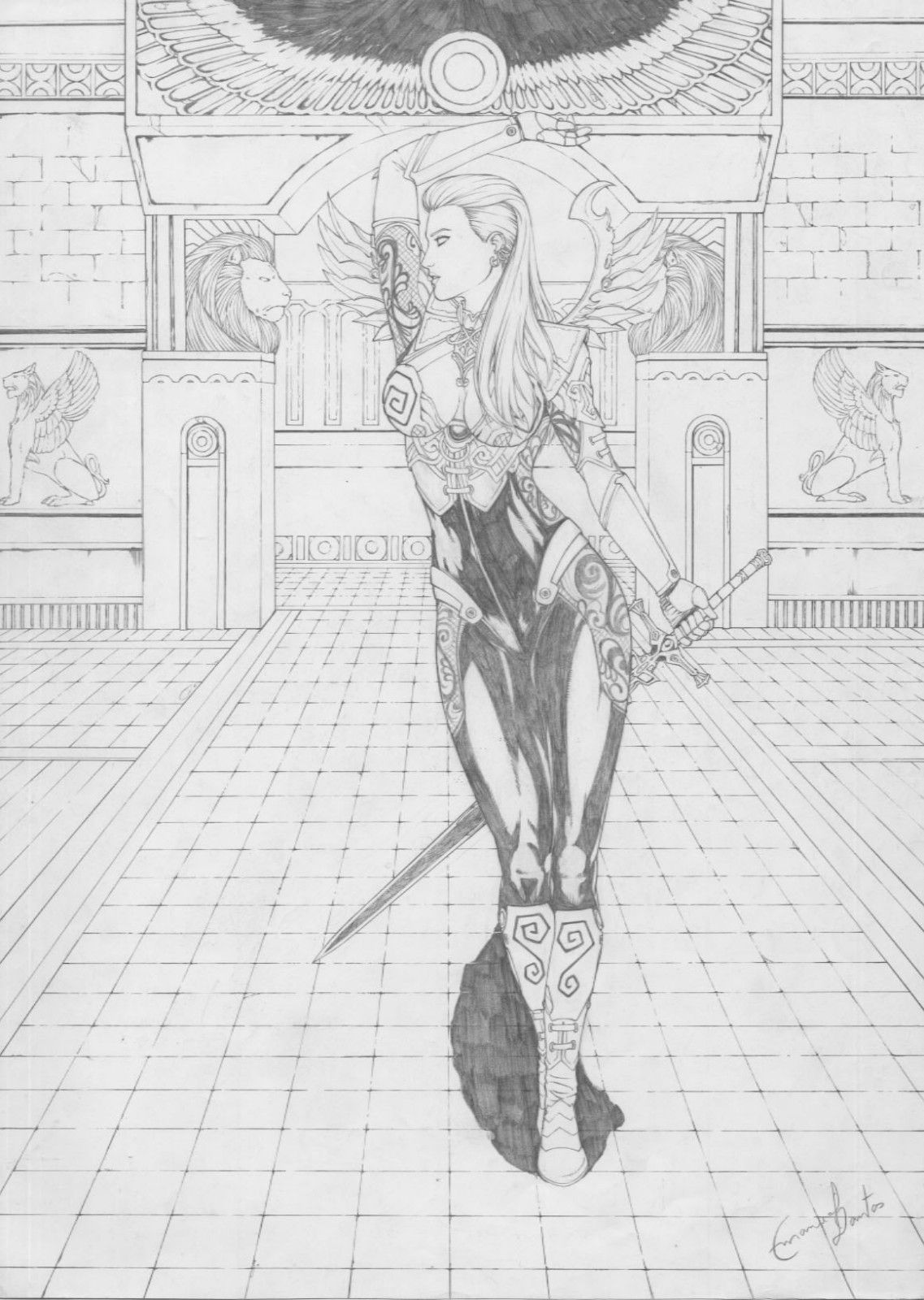Coloring Books Emanuel Dantos Dark Elf Drawing Pinup Original Art