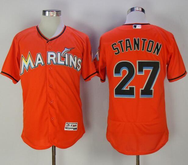 193b64ff8 MLB Miami Marlins 27 Mike Stanton Orange Flexbase Baseball Jerseys ...